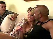 Blondie sucks off a big black stud in front of her bf