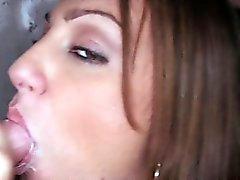 Gloryhole loving brunette gets moutful