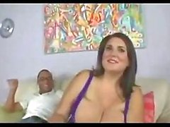 Beauty woman with huge tits fucks with black man.