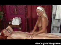 Blonds rousse et le lesbienne Gode Salon de massage Enfoncer