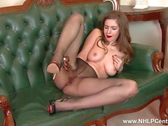 Brunette babe Stella Cox with big natural tits fucks her big toy in sexy nylon pantyhose
