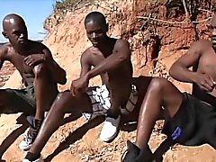 Hot african guys have hardcore gay sex in the sun