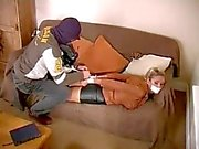 Blonde hogtied in boots