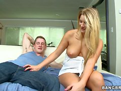 Blonde Katie Banks with big naturals gives bj