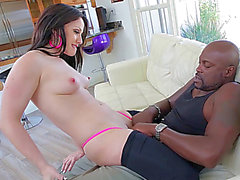 Slinky Jennifer White verführt dunklen dude Lexington Steele