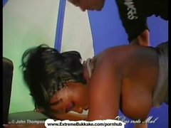 Sexy ebony babe gets shared just like a good bukkake girl