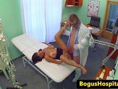 Jizzed busty patient follows doctors advise