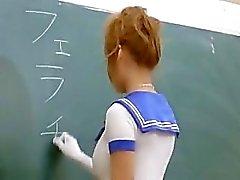 Asian teacher gives a blowjob to her class