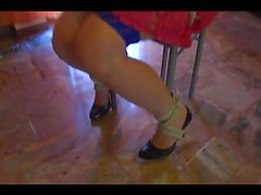 Chairtied slave struggles