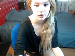 Blonde teen fingering in her panties on webcam