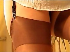 girl shows stockings