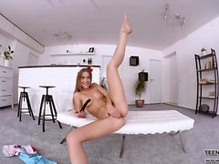 VR porn movie sexy teen tight pussy dildo fucking