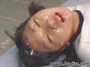 Gang banged and covered in fresh hot semen, that is how they left this pigtailed Japanese chick