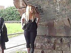 Blonde voyeur babe Sophie Keagan public flashing