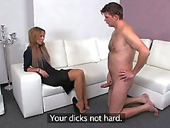 Amateur dude gets footjob in stockings