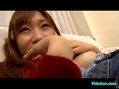 Asian Girl In Jumper And Jeans Skirt Licked Fingered Giving Blowjob On The Couch