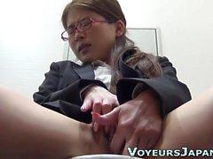 Classy asian masturbates