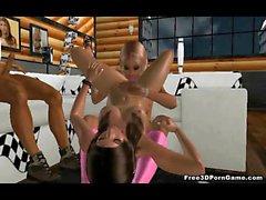 Bambino Bisessuale in 3D ottiene scopato mentre mangia la figa
