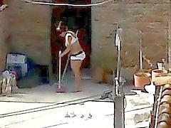 Подглядывание сосед Cleaning - мамочка Асс Белье вуайерист