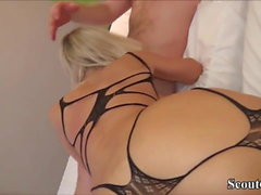 German Teen Fuck and Facial in Amateur Threesome