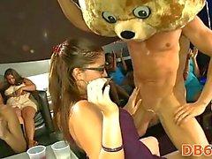 Hot burnette sucks down stripper cock
