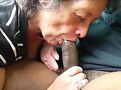 Amateur Granny eating a black dick