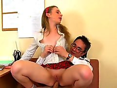 Lusty fun for slutty teacher in order to pass the exams