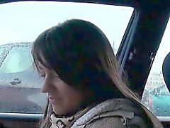 Cute hitchhiker rubbing shaft for a free ride