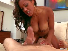 Exotic big tit MILF Maxine X has fun with heavy white cock