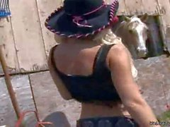 Molly and Karlie play cowgirls