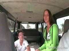 Hot teen getting nasty in the bus and stripping