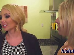 Two hot blondes have some lesbian fun