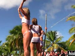 Busty chicks dance on the pole