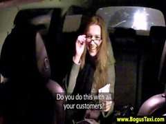 Amateur euro babe with glasses cant pay for taxi