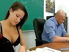 Schoolgirl slut gives her pussy to teacher