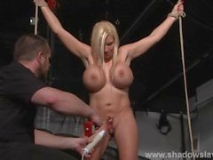 Busty slave Melanie Moons electro tortures and strict german bdsm punishm