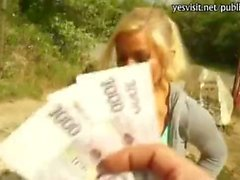 Nasty blondie chick asshole fucked in public for money