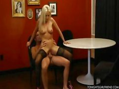 Lovely blonde Diana likes to look sexy when she eats his meat and gets drilled