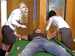 Femdom teens torturing, pumping and rubbing cock on a pool table