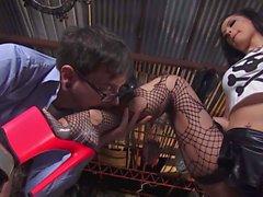 Slut in fishnet stockings Katrina Jade loves oral sex