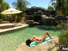 Horny MILF gets plowed by the pool