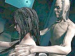 Volpino in 3D delle zombie Volpe femmina Pompe e cazzo fin