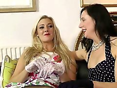 Stockinged british milf spanking and licking