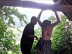 Saschas outdoor tit whipping