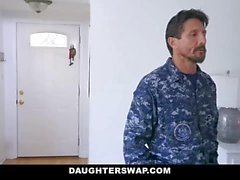 Two horny dads fuck each others cute little daughters hard