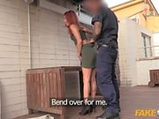 Fake Cop Cute trespasser rides policemans cock