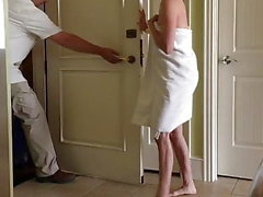 Wife towel drop flashing bellman at hotel