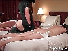 Dirty gay slaves in leather masks gets asses spanked and toyed