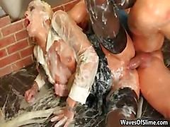 Dirty jizzed girl gets her cunt fucked part3