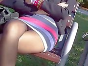 Candid black Pantyhose lady